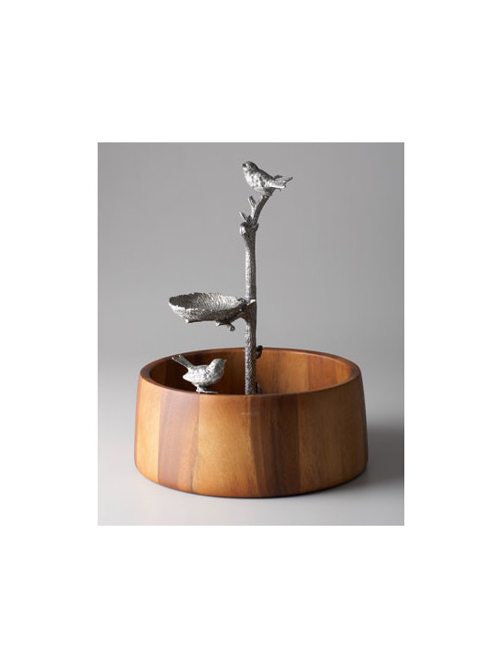 "Vagabond House - Vagabond House ""Song Bird"" Dip Bowl - Who could resist anything offered in this delightful dip bowl? It features a pure pewter ""branch"" cast in exquisite detail that acts as both a handle and perch for the ""nest"" treat bowl. Atop the branch, a delicate song bird watches over the nest while...."