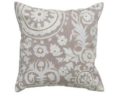 Rizzy Home Gray with White Embroidery Decorative Throw Pillow modern-decorative-pillows