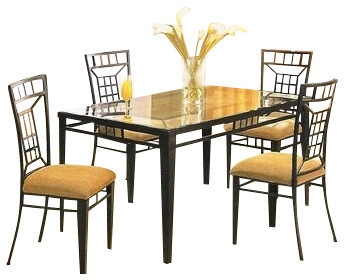5 Piece Metal And Glass Dining Table Set With Stone Inlay On Table And Chairs