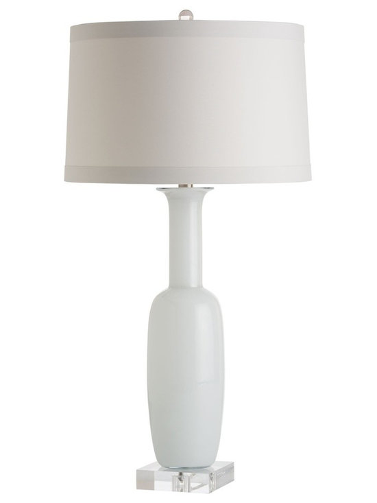 Arteriors Home - Kristie Table Lamp - Kristie Table Lamp features a White cased glass bottle shape base mounted on a square acrylic base and topped with an Ash microfiber shade.  One 150 watt, 120 volt A19 3-Way type medium base incandescent bulb is required, but not included. 16 inch width x 29 inch height.