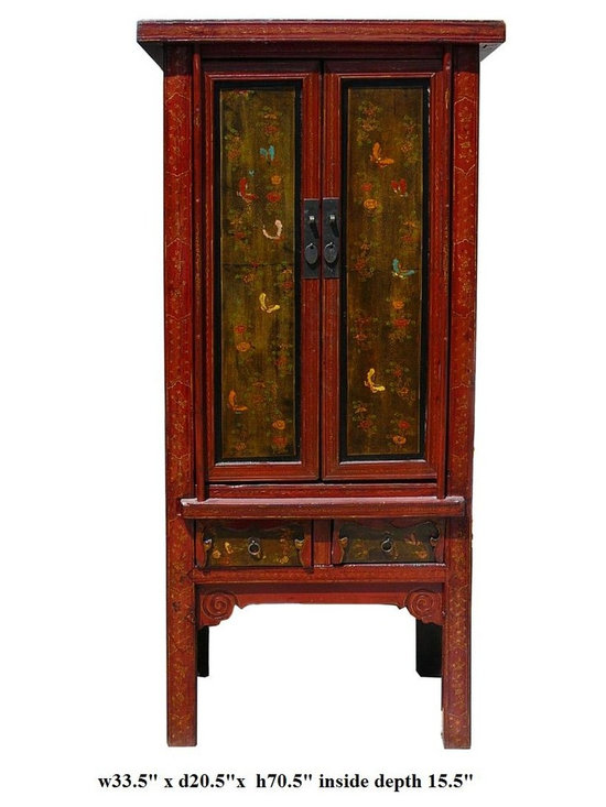 Vintage Chinese Cabinet w Color Butterflies Graphic - This is an old cabinet with restored graphic. It has nice slim minor A shape design. The body is mainly orange red color. The doors are in rustic black yellow base color. It is a decorative storage cabinet for the living room or office.