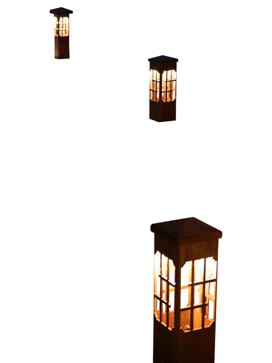"""Attraction Lights - Bollard light-Lantern-Decorative steel light fixture - The 6 x 6 Bollard light is 42""""  tall and is perfect for illuminating steps and entryways and it also makes a great piece of functional steel art or sculpture for your back yard by the patio or within perennial flower beds.  If your tired of the same old boring path lights and are ready for something unique and different,  these sculptural steel pieces really make a statement.  Anchored on a concrete footing, not even the biggest dog will not knock them over.  Standard 12 volt lighting that can be modified to 120 volt. The lights come standard with a 2700k (warm white color) LED light bulb.  This particular pattern is from our Lantern series and is perfect for nautical and woodsy settings."""