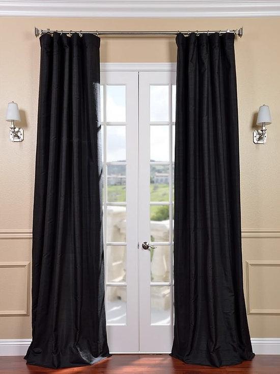 Black Textured Dupioni Silk Curtains & Drapes -