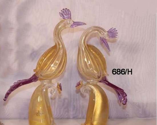Murano Glass Sculptures and Figurines - Murano Glass birds of paradise- COA and made to order.  More available so please contact us