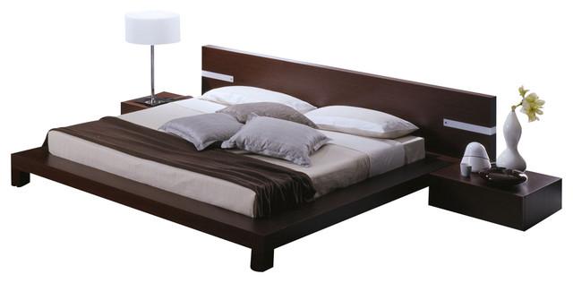 Win Platform Bed / with Headboard Lights-King modern-beds