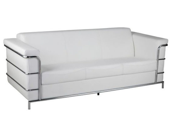 Leonardo Chrome with White Leather 30 1/2-Inch-H Sofas - Leonardo Chrome and White Leather Sofas