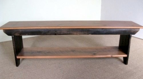 Barn Wood Plank Bench With Shelf farmhouse-dining-benches