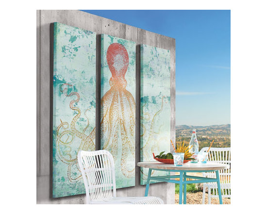 Grandin Road - Multicolored Octopus Outdoor Art - Gallery-wrapped wall art features triptych of a full figure octopus in deep blues, reds and yellows. Precision giclée printing captures the artist's original watercolor painting with exacting detail. Printed on canvas. Canvas stretched over a solid wood frame. Arrives ready to hang. Eight arms, three panels, and one statement-making piece of art-our Pacific Octopus Wall Art plumbs the depths of bold. This dramatic giclee triptych features a scene right out of 20000 Leagues Under the Sea. Whimsical and colorful, each panel is hand finished with a hand-stretched canvas over wood. . Precision giclee printing captures the artist's original watercolor painting with exacting detail. . . . Made in the USA.