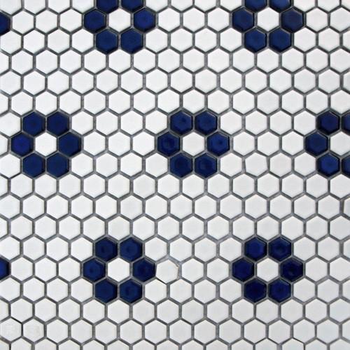 Glazed Hexagons Matte White Cobalt Flower Mini Hexagon