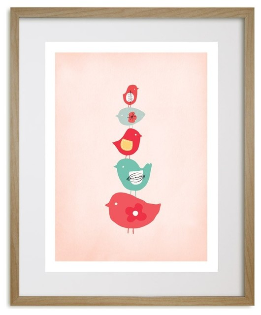 Birds Sweet Bird Stack Art Print contemporary-nursery-decor