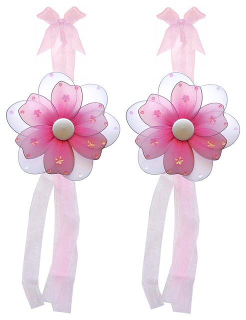 Flower Tie Backs Dark Pink Multi-Layered Flowers Tieback Pair Set Decor window-treatment-accessories