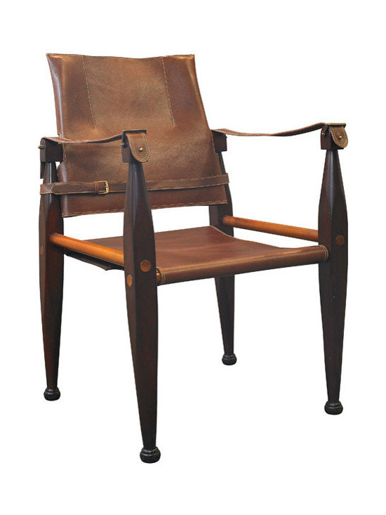 "Inviting Home - Colonial Safari Leather Chair - Colonial Safari leather chair 21-3/4 x 22 x 35""H. This is a classic wood chair with seat and back made of heavy bridle leather. The leather is aged and oiled to look somewhat weathered. Colonial Safari leather chair provides a comfy respite during the Regency Club cocktail hour or while contemplating the rigors of a tiger hunt in the Age of the Raj! At times it's hard to align 19th century comfort with 21st century standards! Colonial Safari leather chair is an original reproduction and is also a bit flexible. That goes with fast and easy assembly and legs that adapt to pretty much any uneven floor. Essential elements of the original design."