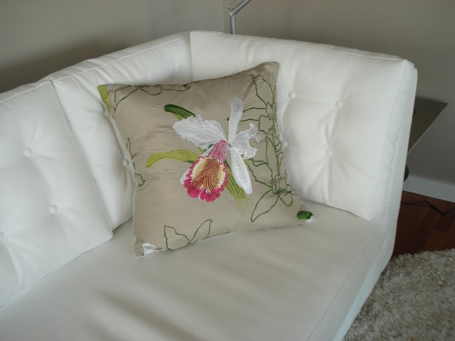 Decorative Pillows For White Leather Couch : White leather sofa with custom orchid cushion - Modern - Decorative Pillows - vancouver - by ...