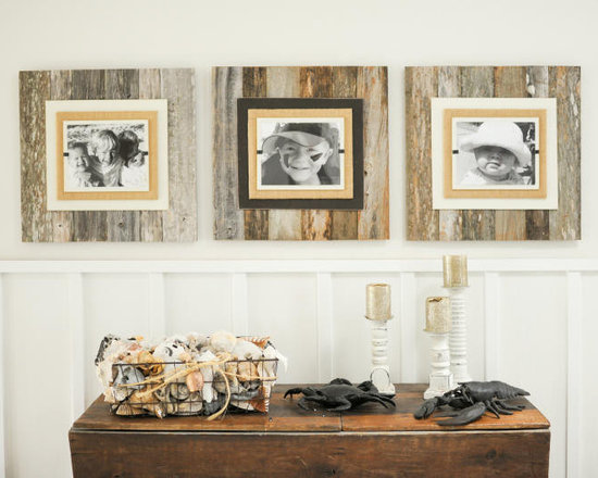 Reclaimed Wood & Burlap Frames - Our original reclaimed frames are available in three sizes. Crafted of weathered and painted wood with a burlap wrapped interior frame to feature your treasured photo. Easy front loading, clamping system under Plexiglas makes photo updates a breeze. We show three frames side by side in collage fashion for a statement making wall hanging. Painted frame portion available in cream or brown on weathered wood.