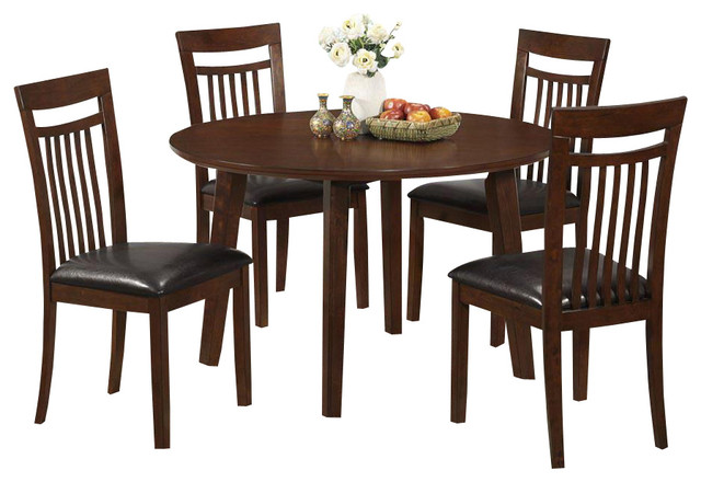 Monarch specialties 1806 5 piece round dining room set in for Traditional round dining room sets