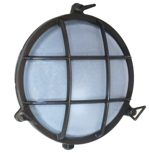 Round Exterior Wall Lights : Round Cage Light (Solid Brass, Interior / Exterior by Shiplights) - Beach Style - Outdoor Wall ...