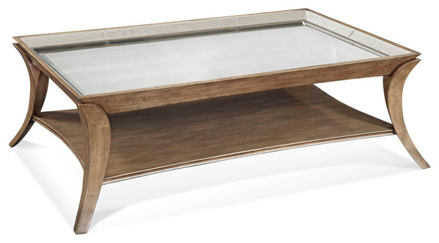 Bassett Mirror Arcos Rectangular Glass Cocktail Table in Graphite contemporary-coffee-tables