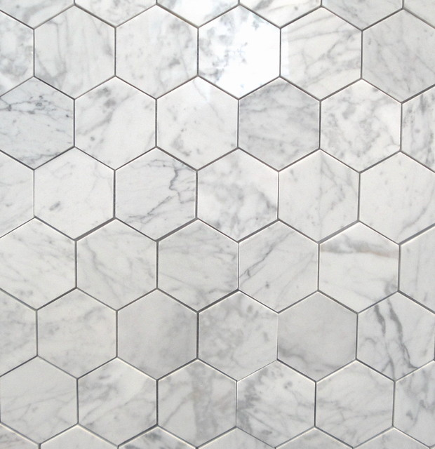 Bianco carrara 3 polished hexagon marbletiles traditional wall and floor tile toronto Marble hex tile bathroom floor