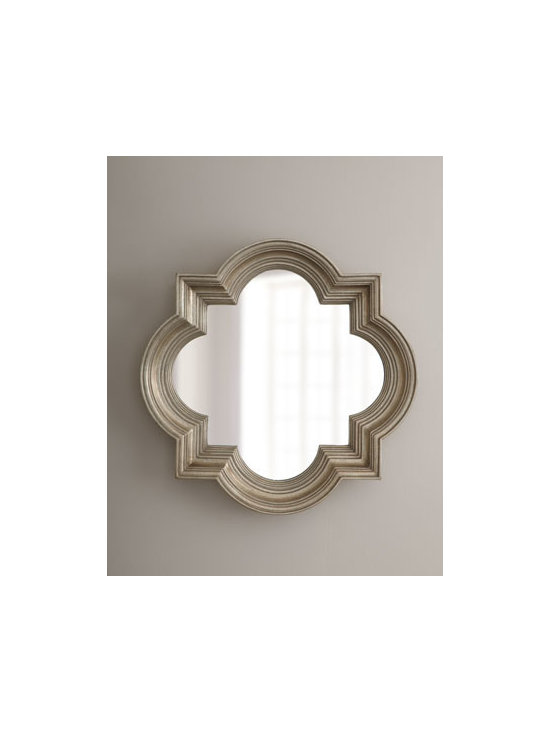 """Horchow - Silvery Quatrefoil Mirror - A classic quatrefoil shape gives a bit of Moorish influence to this decorative mirror. Resin frame. 30""""Sq. Imported. Boxed weight, approximately 15 lbs. Please note that this item may require additional delivery and processing charges."""