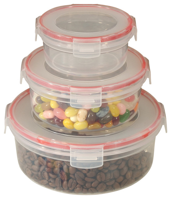 6-Piece Lock and Seal Container Set With Round Lids contemporary-food-containers-and-storage