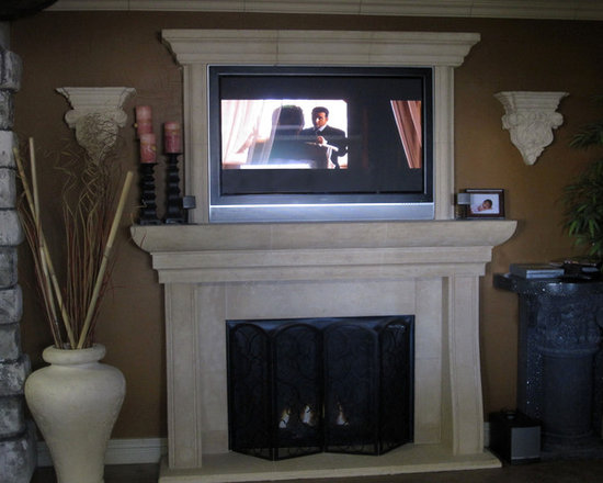 Fireplace Mantel - Cast stone fireplace mantel and over mantel design in smooth and travertine finishes.  Custom floor to ceiling mantel designs.