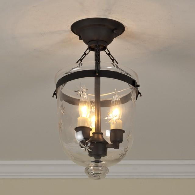 Mini Smokebell Semi Flush Ceiling Lantern 4 Finishes