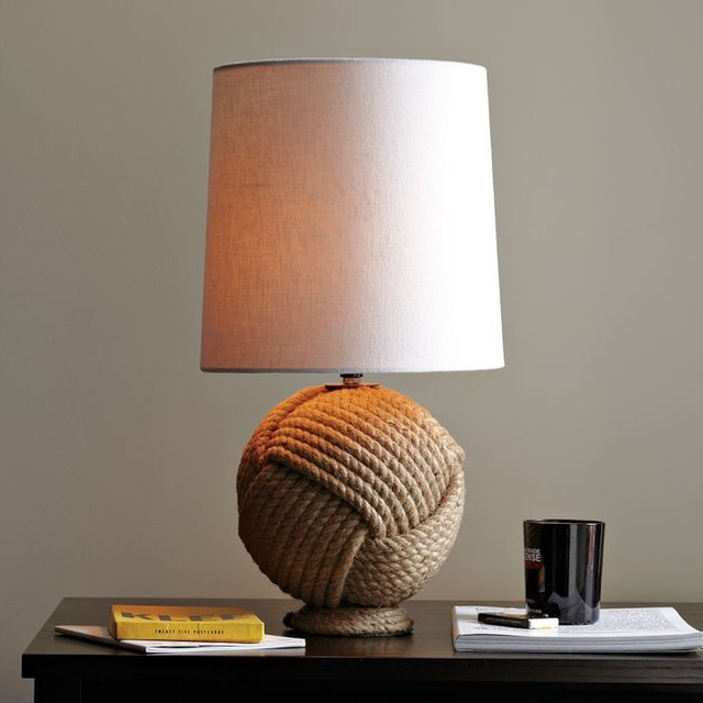 Round Rope Lamp - contemporary - table lamps - by West Elm