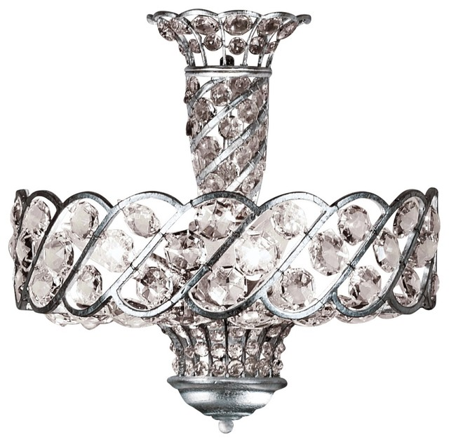 """Contemporary Catara 18"""" Wide Silver Leaf and Crystal Ceiling Light contemporary-ceiling-lighting"""