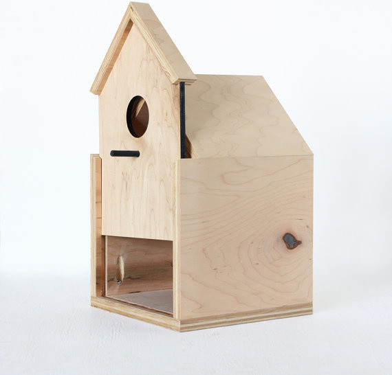 Modern Birdhouse with Sliding Front Door by Oh Dier - Modern - Birdhouses - by Etsy