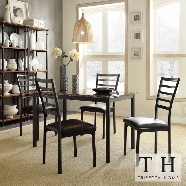 Darcy ii faux marble top black metal 5 piece casual dining Black marble dining table set