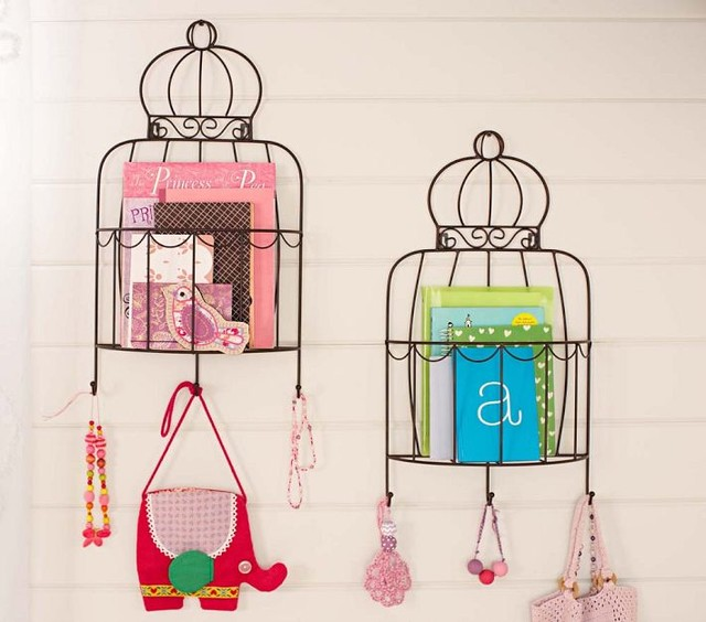 Birdcage Magazine Rack eclectic-wall-shelves