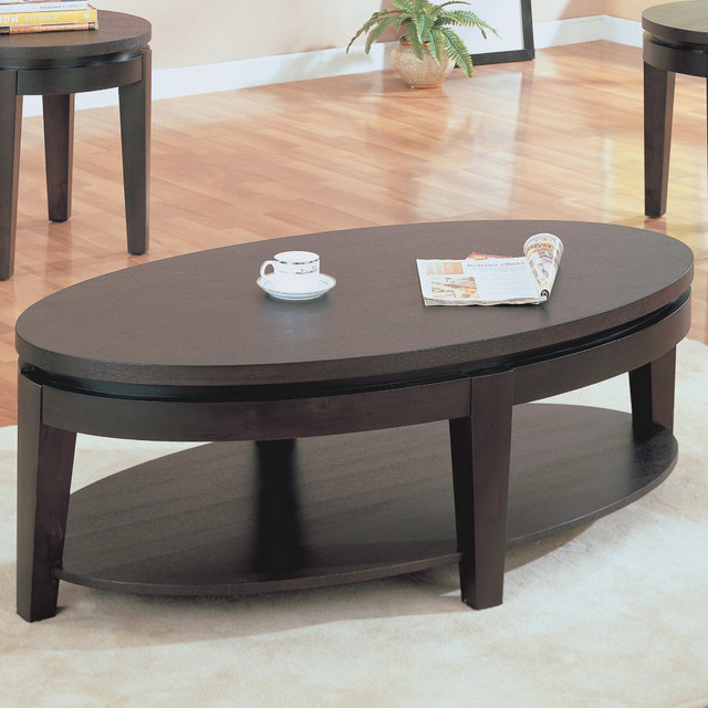 Oval Cocktail Table In Cappuccino Contemporary Coffee Tables By