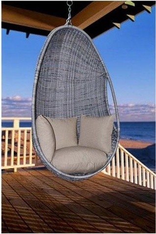 Plastic Rattan Hanging Chair With Four Pillows Modern Hammocks And Swing