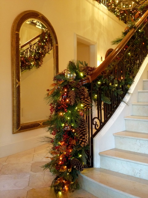 Holiday decor stair banister garland traditional for Hanging garland on staircase