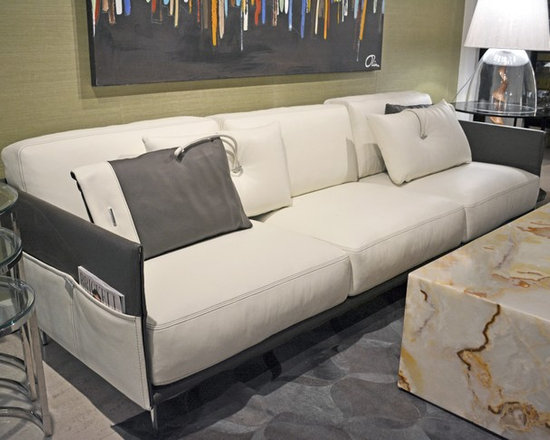 Showroom Pieces - White & Gray leather sofa with side pockets.