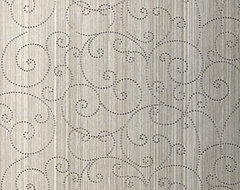 Beaded Scroll Wallcovering, Pewter contemporary wallpaper