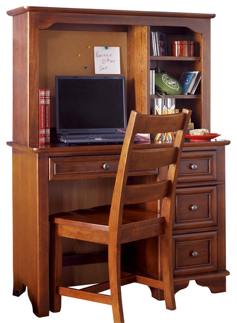 Lea Deer Run Student Desk With Hutch And Chair In Brown