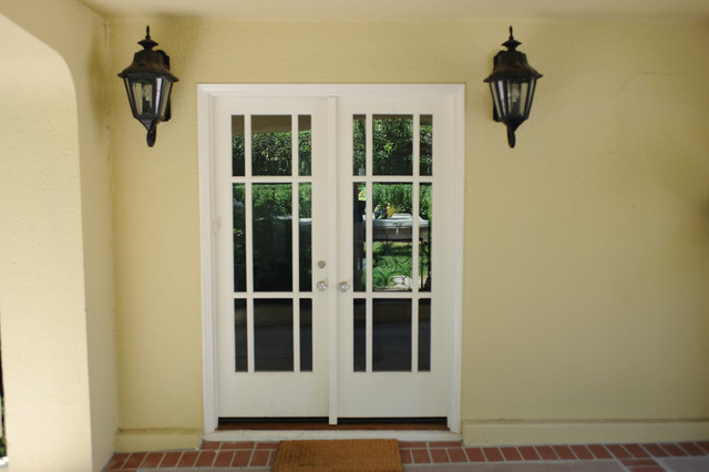Custom lite french doors to rear terrace casement windows for Rear french doors