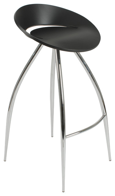Rubin-B Bar Stool-Black/Chrome contemporary-bar-stools-and-counter-stools