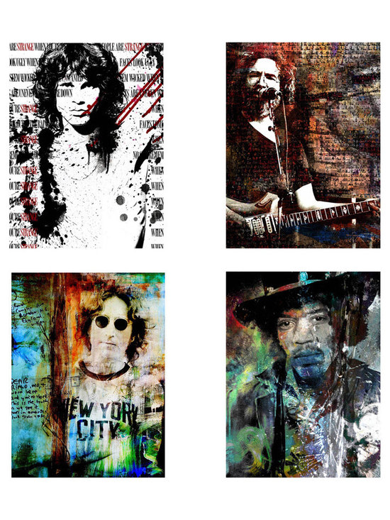Ready2hangart - Alexis Bueno 'Rock Stars' 4-piece Canvas Wall Art - Artist: Alexis BuenoTitle: Rock StarProduct type: Gallery Wrapped Canvas Set