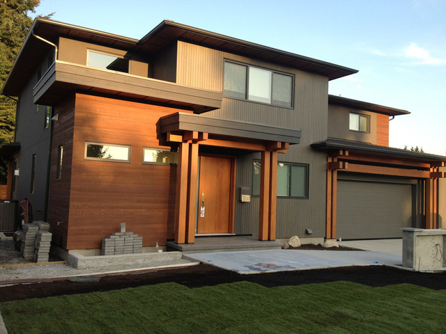 Burnaby custom contemporary timber frame home Modern timber frame house plans
