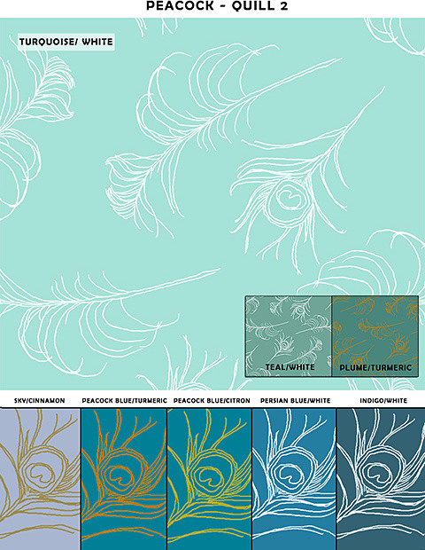 Removable & Reusable Quill Peacock Patterns wallpaper