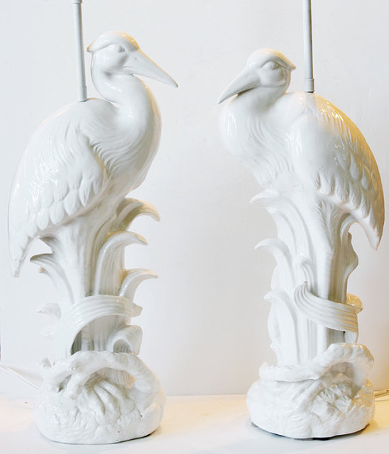 Pair Mid Century Rare White Glazed Pelican Lamps by Paris Couture Antiques - Eclectic - Table ...