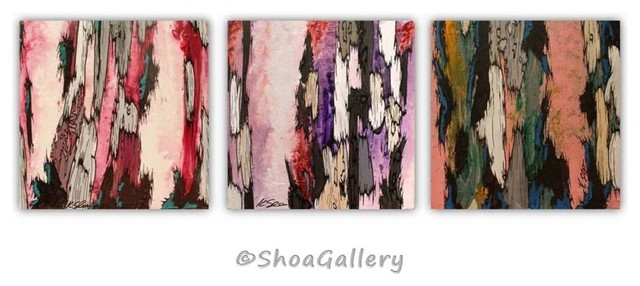 ORIGINAL set of 3 Tree Painting white pink fuchsia lavender Home Accent Art transitional-artwork