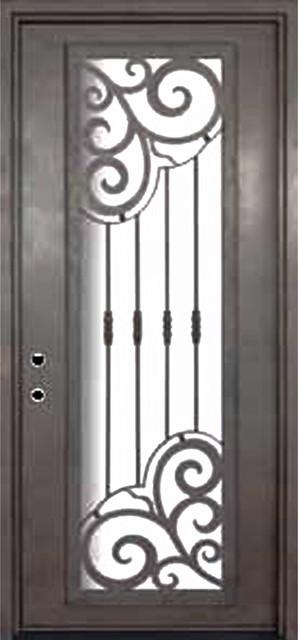 Barcelona 42x96 forged iron single door 14 gauge steel for 14 gauge steel door