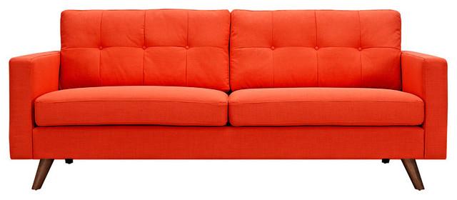 Retro Orange Uma Sofa Dark Walnut Wood Color Midcentury