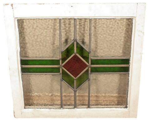 Antique English Lead Glazed Stained Glass Window traditional-windows