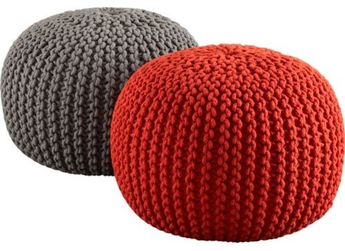 knitted blood orange pouf modern-footstools-and-ottomans