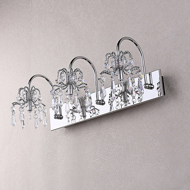Ovida Chrome Crystal Bath Vanity Light Modern Bathroom Vanity Lighting Other Metro By