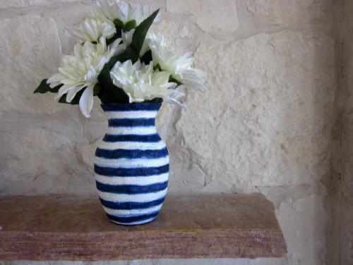Navy Blue And White Vase Glass And Stucco By CarriageOakCottage vases